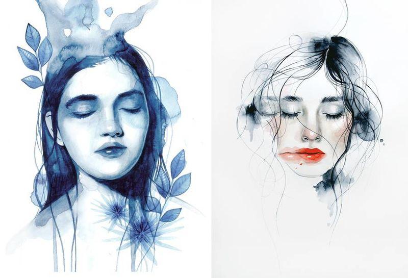 Feminine Watercolor Portraits