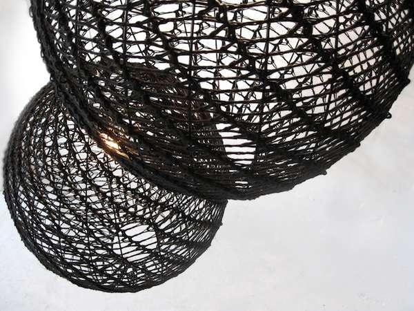 Crocheted Globe Lamps