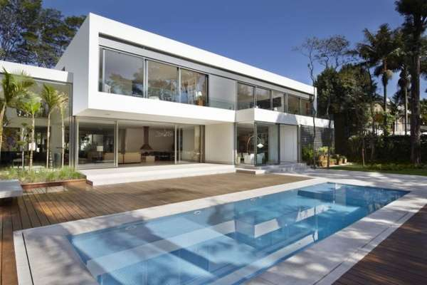 Boxy open concept homes morumbi residence by drucker - Fotos de casas con piscina ...