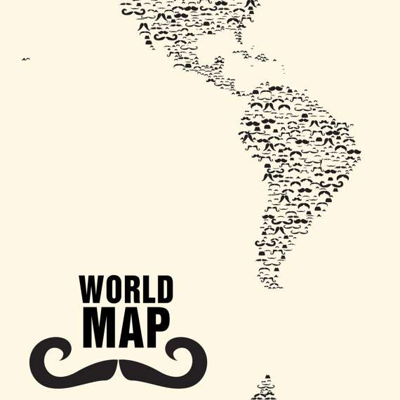 Moustache World Map