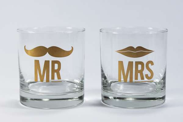 Mr and Mrs Cocktail Glass Set