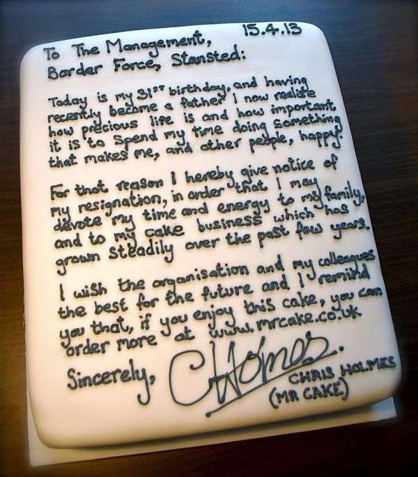 Thoughtful Resignation Cakes