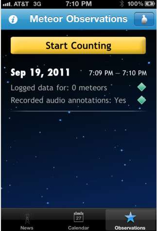 nasa meteor counter app