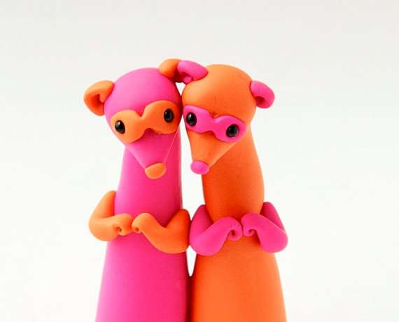 Neon Pink and Orange Ferret Twins by Bonjour Poupette