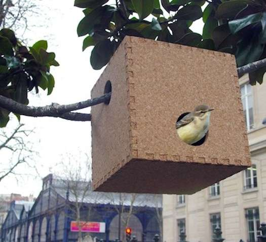 Cubic Cork Birdhouses