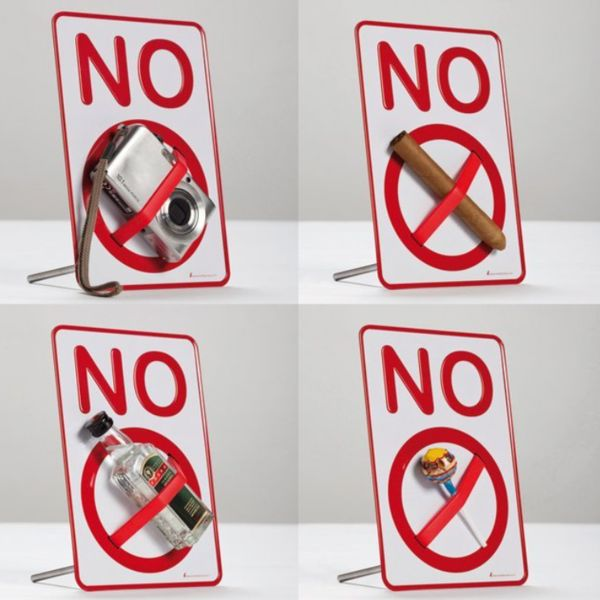 'NO' sign holder