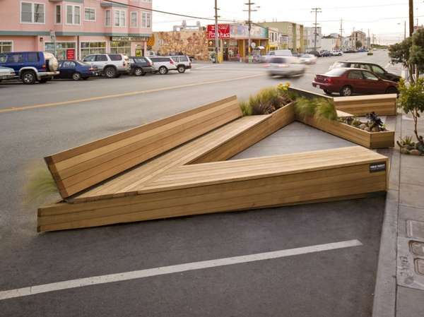 Triangular Public Seating Noriega Street Parklet