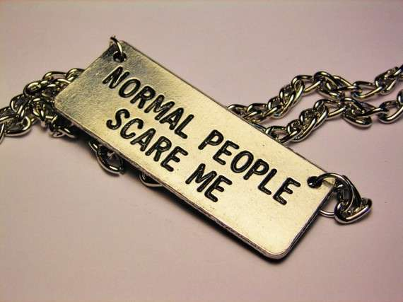 'Normal People Scare Me' necklace by Corsio Studio