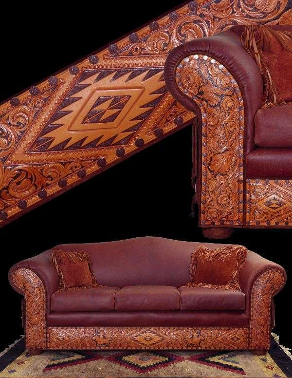 Hand tooled leather seats handmade furniture from ernie for Native american furniture designs