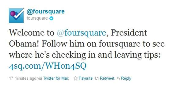 Obama Has Joined Foursquare