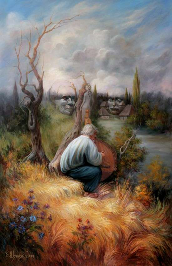 illusion optical paintings oleg shuplyak hidden famous illusions painting faces dali face artist visual salvador figures within oil artists imagery