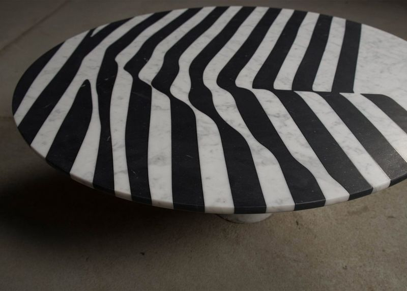 Zebra-Like Marble Tables