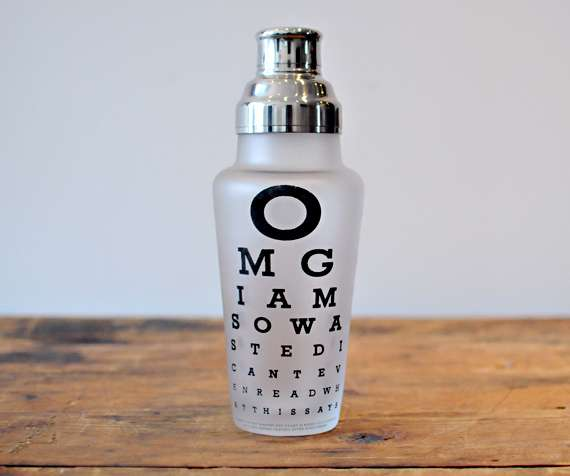 omg eye chart cocktail shaker