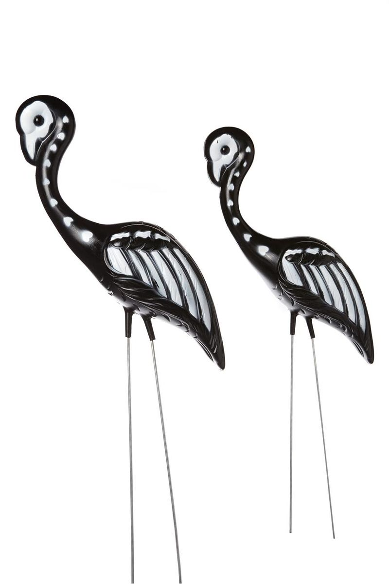 Skeletal Flamingo Ornaments