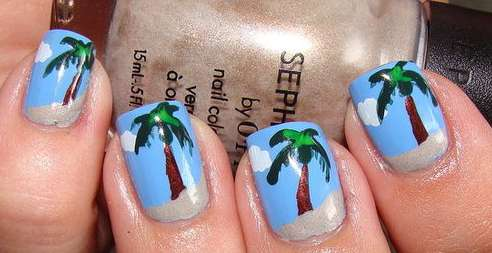 palm tree nail tutorial