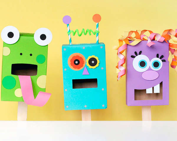 Diy paper box puppets paper box puppets for Boys arts and crafts