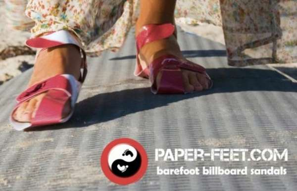 Upcycled Advertisement Footwear