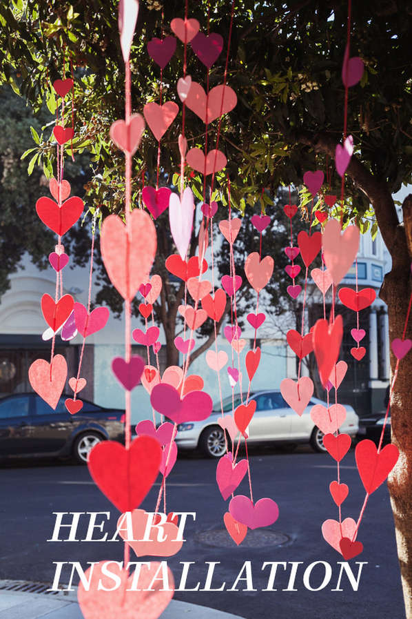 Blossoming Paper Heart Installations
