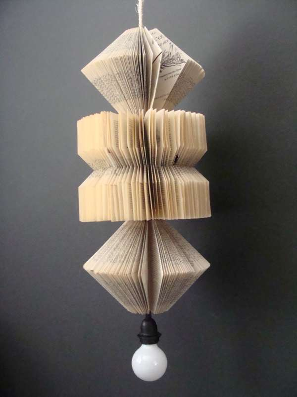 Stylistic Book Page Lamps : paper lamp shade