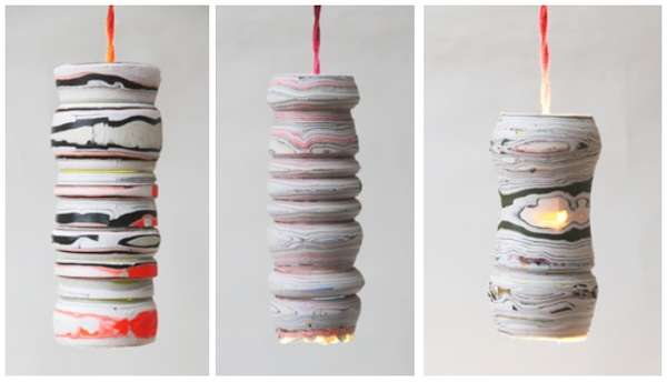 Marbled Newsprint Lanterns