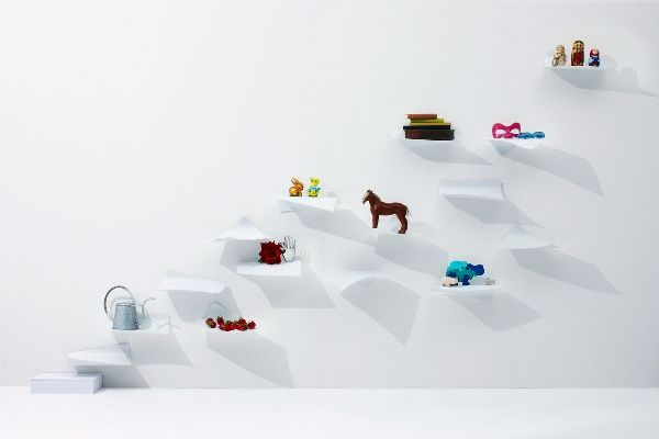 Floating Paper-Inspired Shelves