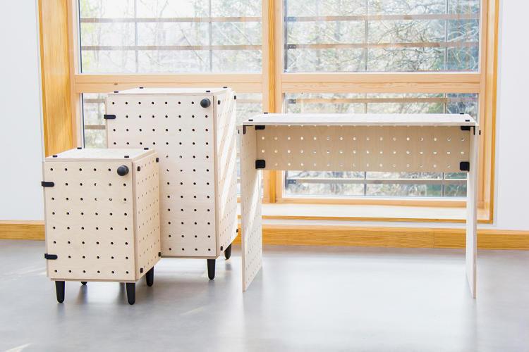 Flat-Pack Pegboard Furniture
