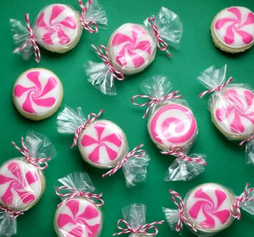 Mini Wrapped Cookie Candies Peppermint Candy Sugar Cookies