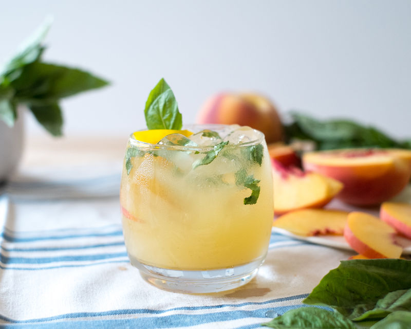 Peach Tomato Basil Cocktails
