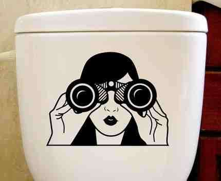Surveillance-Themed Toilet Decals