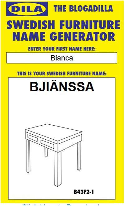Personalised Swedish Furniture Name Generator