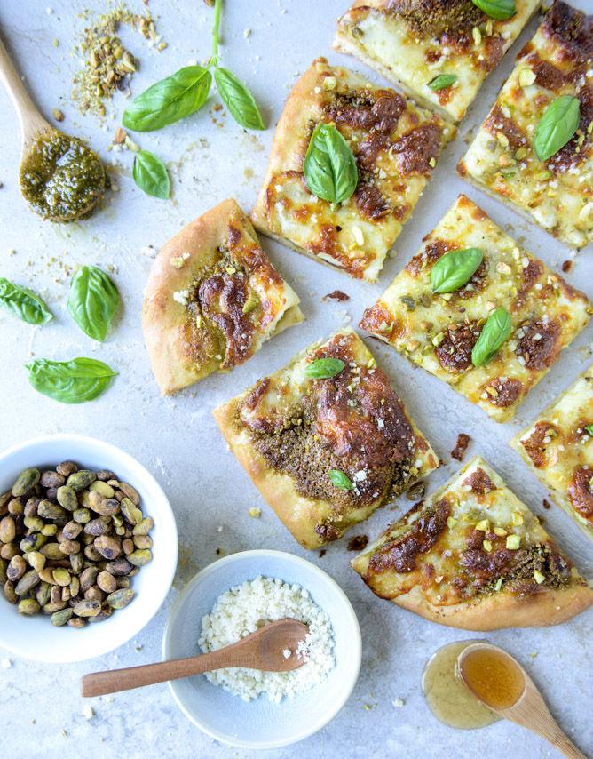 Pistachio Pesto Pizzas