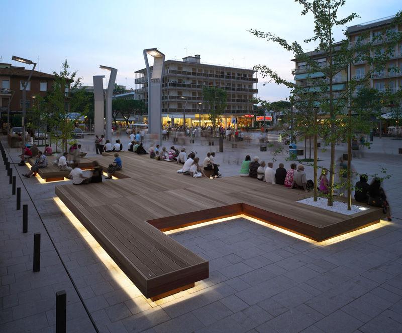 Illuminated Public Benches Piazza Mazzini