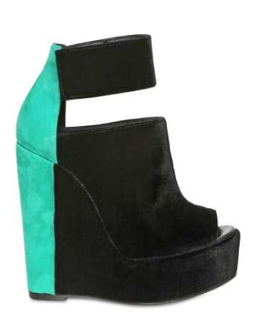 Pierre Hardy Velvet and Suede Open Toe Wedges