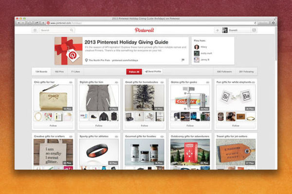 Social Pinboard Gift Guides