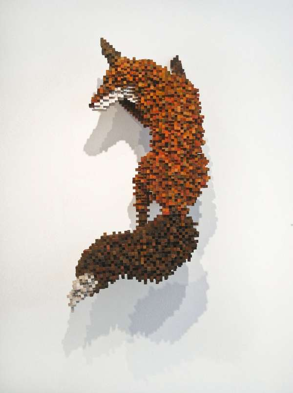 Pixelated Animal Sculptures