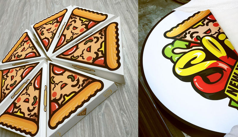 Cartoonish Pizza Boxes : pizza box design