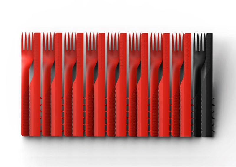 Flat-Pack Plastic Cutlery