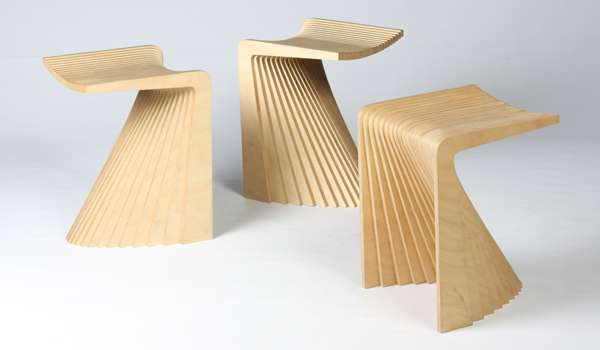 Fanned Out Plywood Perches Pleat Stool