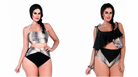 Polychromatic Plus-Size Swimsuits