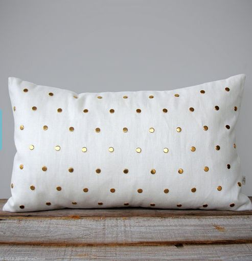 Gold Polka-Dot Pillows