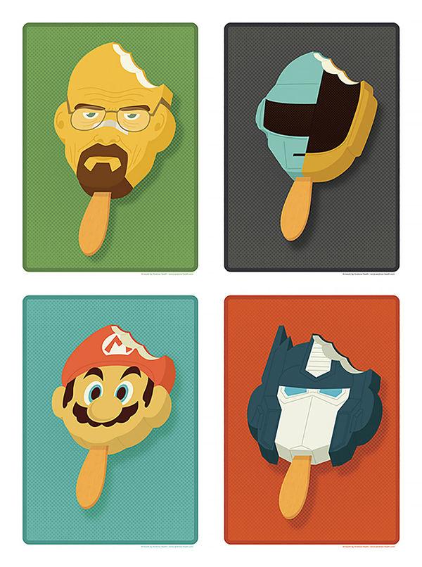 Pop Culture Popsicle Illustrations