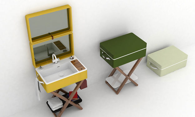 Suitcase-Containing Washbasin Designs