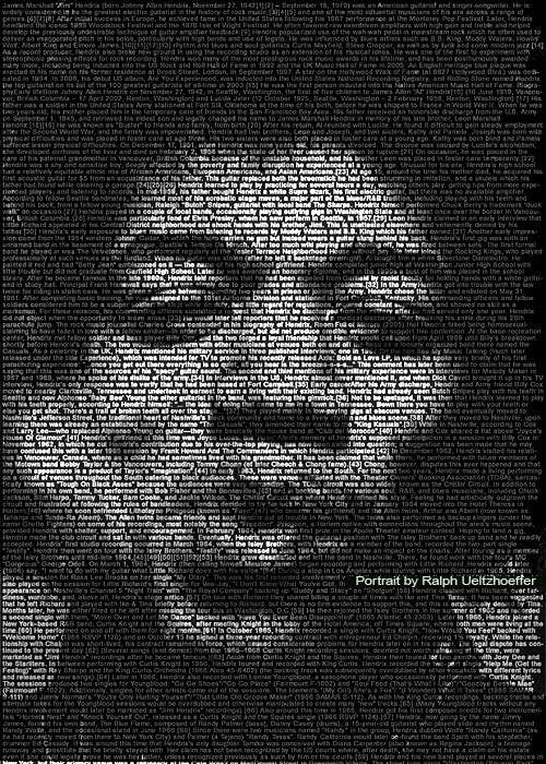 portraits of celebrities built from text
