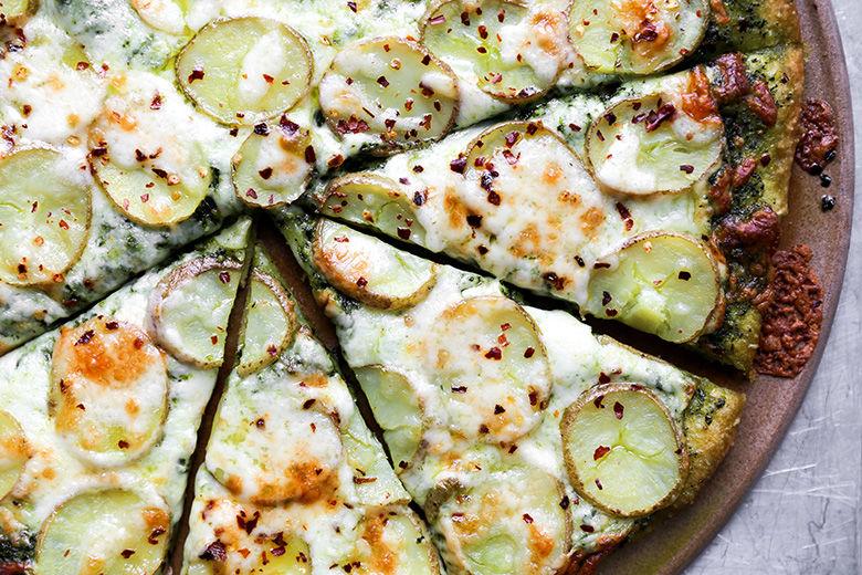 Potato Pesto Pizzas