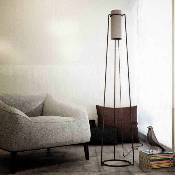 Cylindrical Concrete Lighting Poua Floor Lamp
