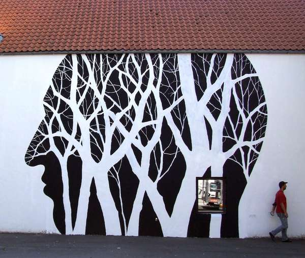 Grungy minimalist murals public wall murals for Black and white mural