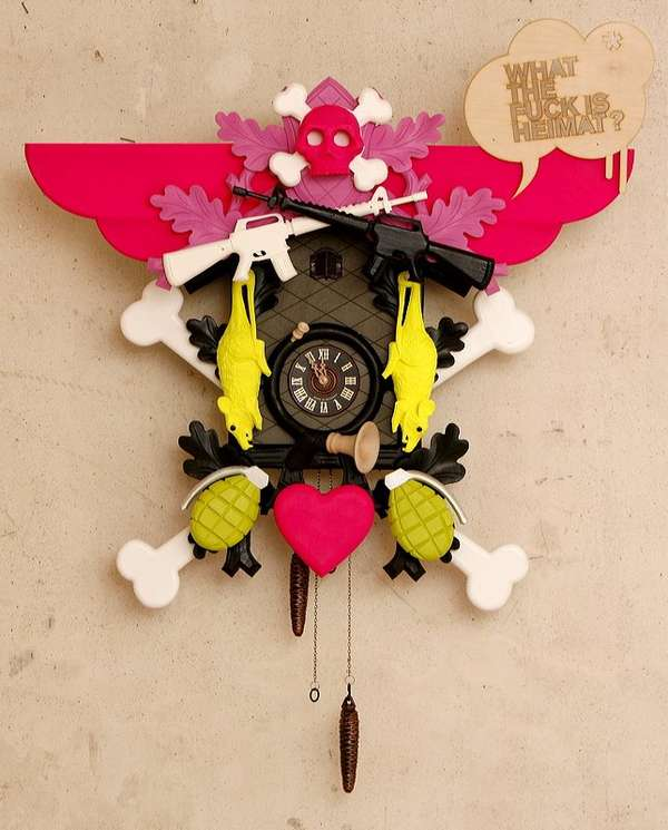 Punked out cuckoos cuckoo clocks get a funky makeover with graffiti designs - Funky cuckoo clock ...