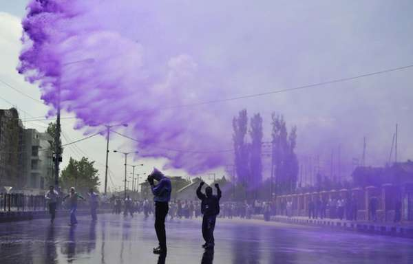 purple water to spray protestors