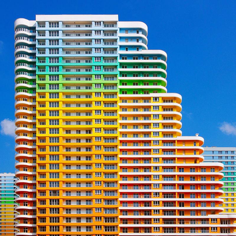 Kaleidoscopic Rainbow Buildings