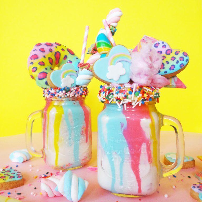Whimsical Rainbow Milkshakes
